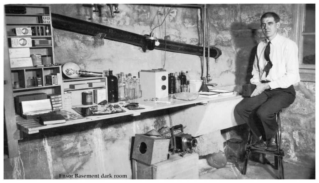 Avid photographer in basement darkroom