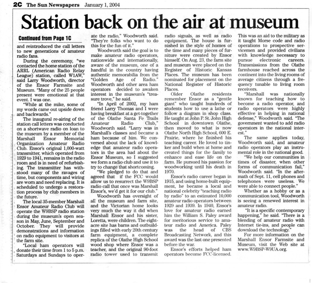 Station back on air at museum. contd